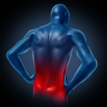 Lower back pain represented by a human body with dorsalgia disease highlighted in red showing chronic spinal medical symptoms that relate to weakness numbness a